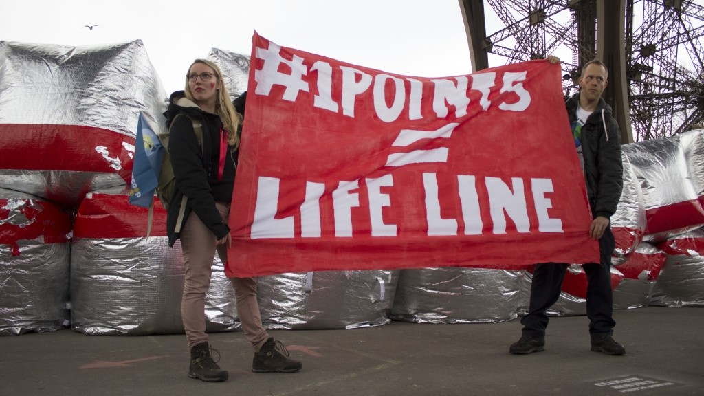 #1POINT5 = LIFELINE! Red lines action COP21 climate summit, Paris
